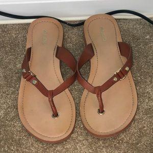 Brown and Cream Flip Flops